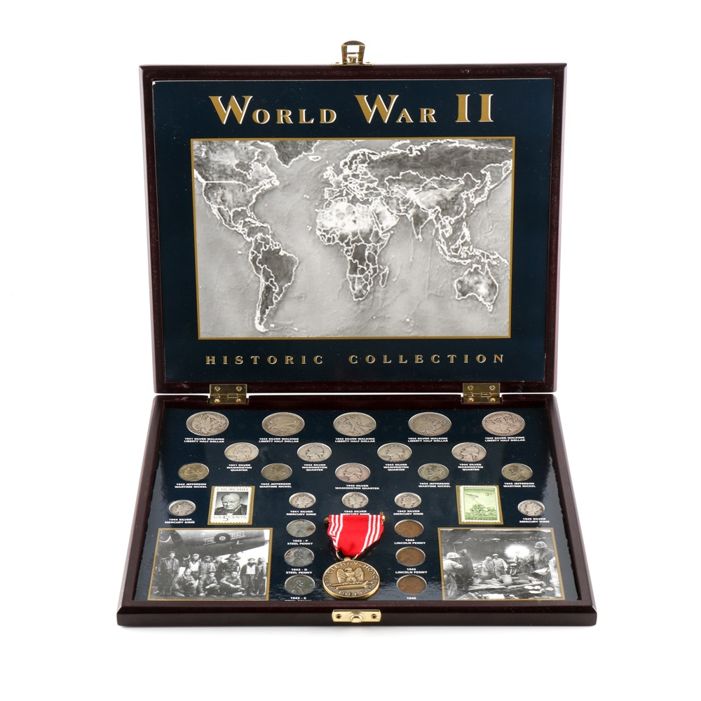 A WWII Coin, Stamp and Medal Set