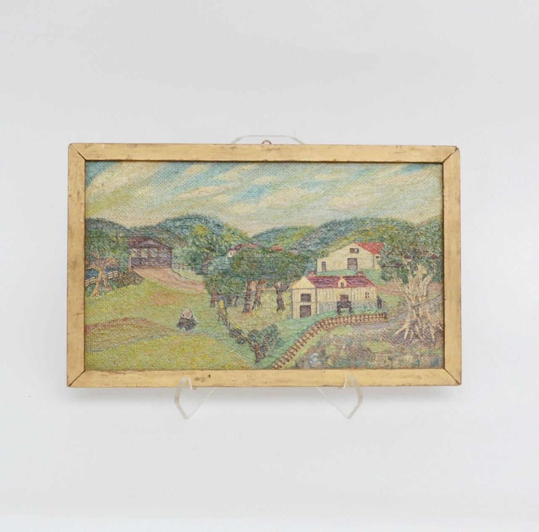 Early Folk Art Oil on Board