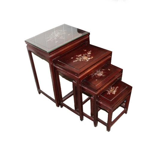Chinoiserie Inlaid Wood and Mother-of-Pearl Nesting Tables