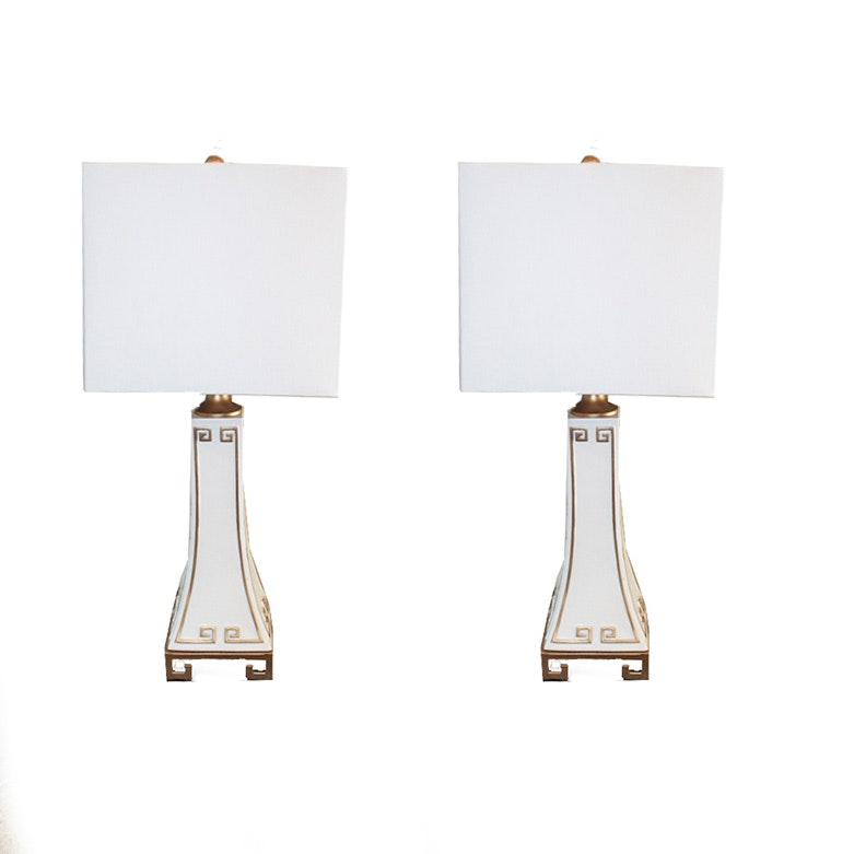 Hollywood Regency Style White and Gold Greek Key Table Lamps