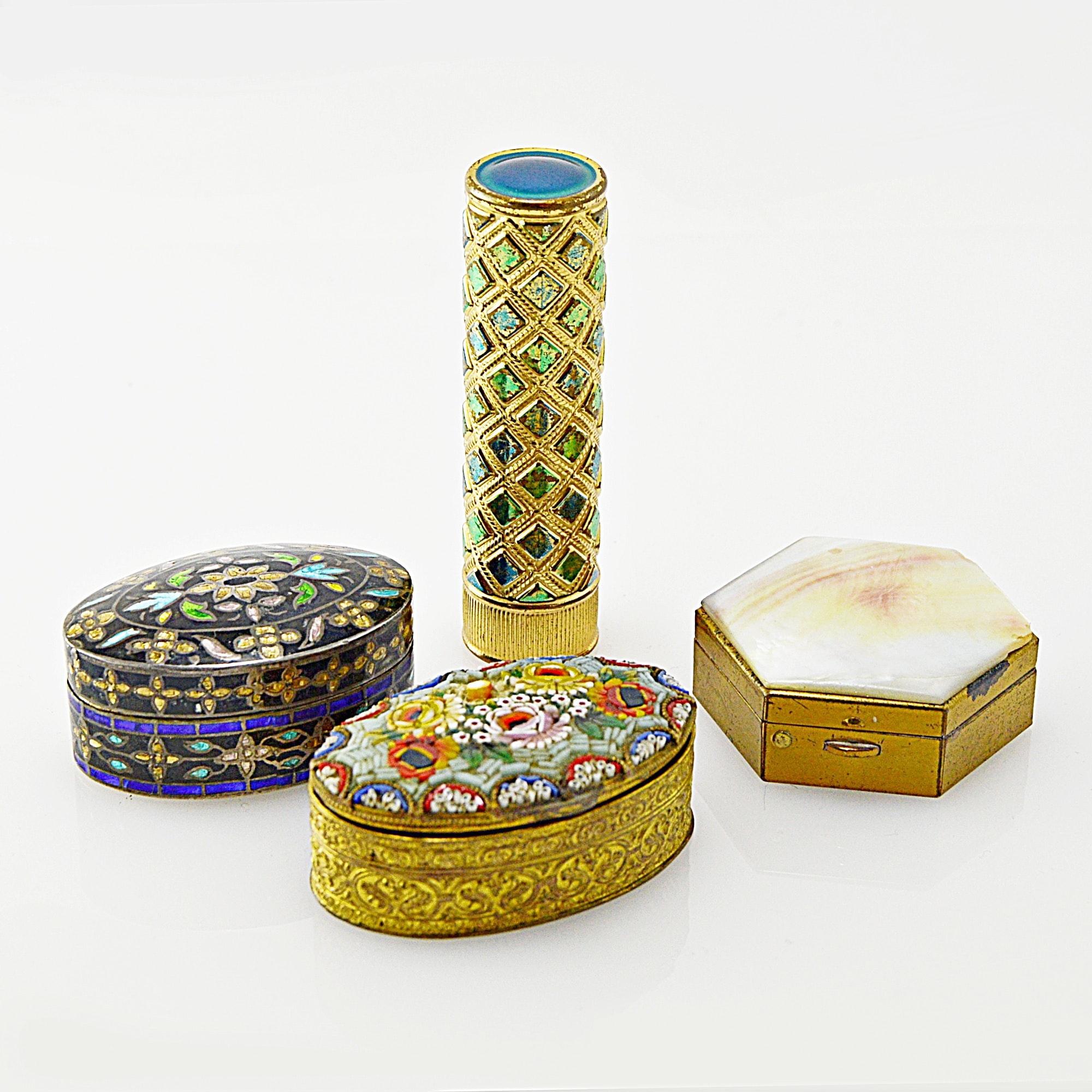 Vintage Mother-of-Pearl, Enamel and Micro Mosaic Pill Boxes, Lipstick