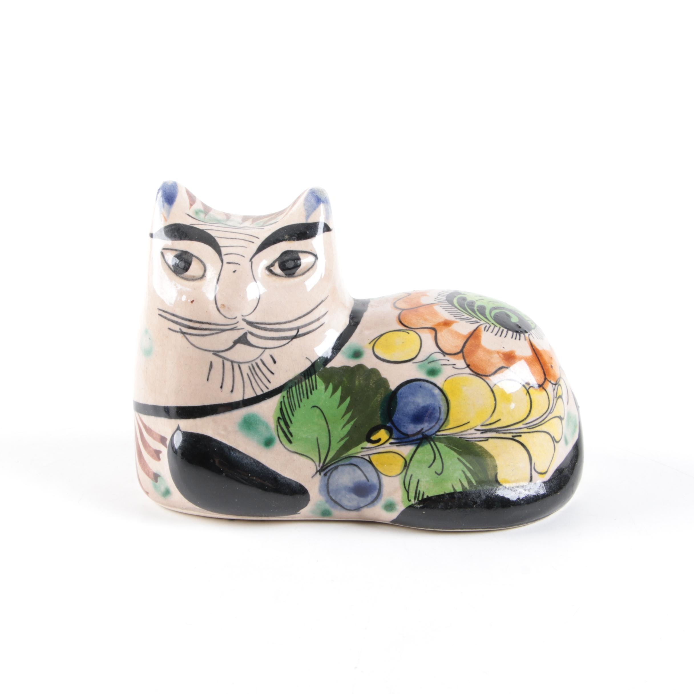 Mexican Hand Painted Ceramic Cat Figurine