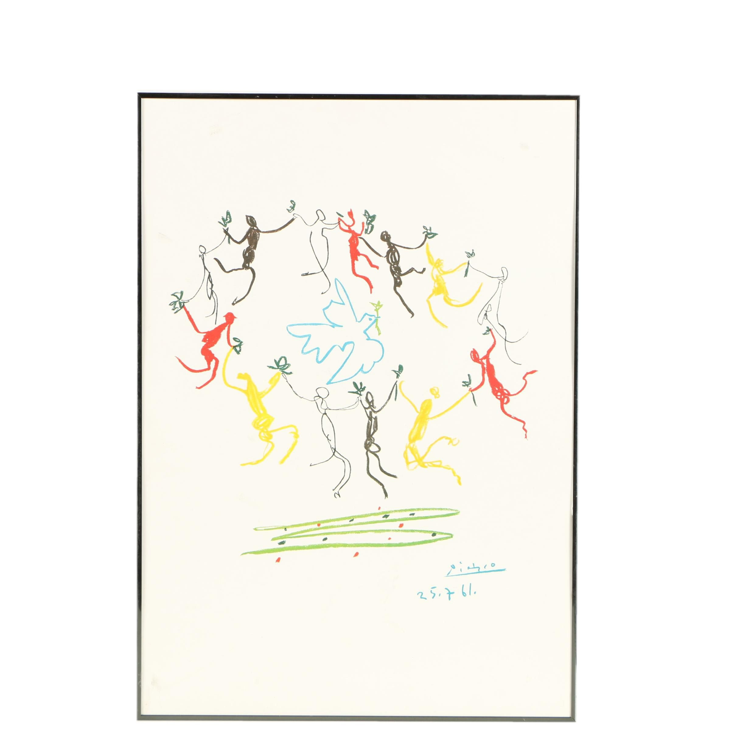 """Offset Lithograph Print on Paper Board After Pablo Picasso """"The Dance of Youth"""""""