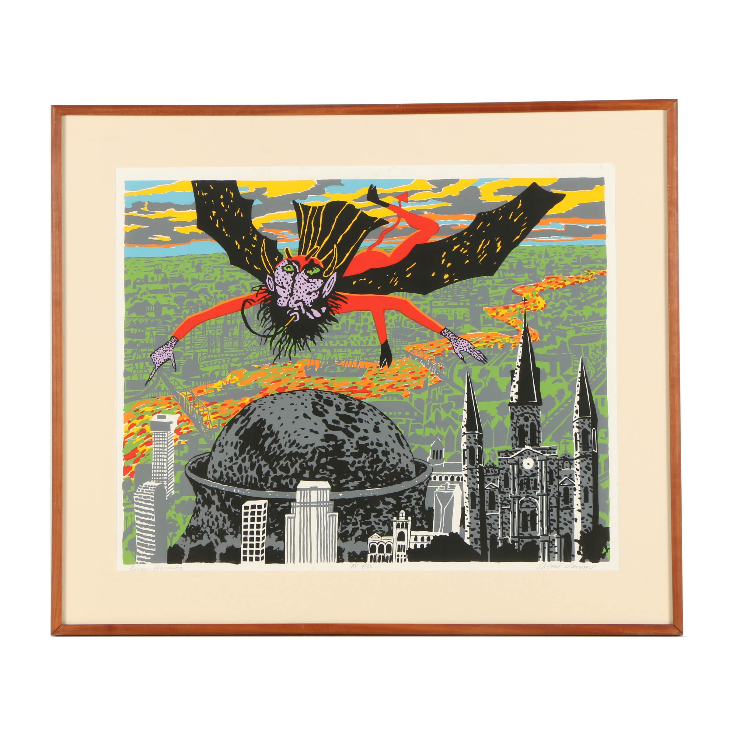 "Robert Warrens Serigraph ""Lucifer Hovering"""
