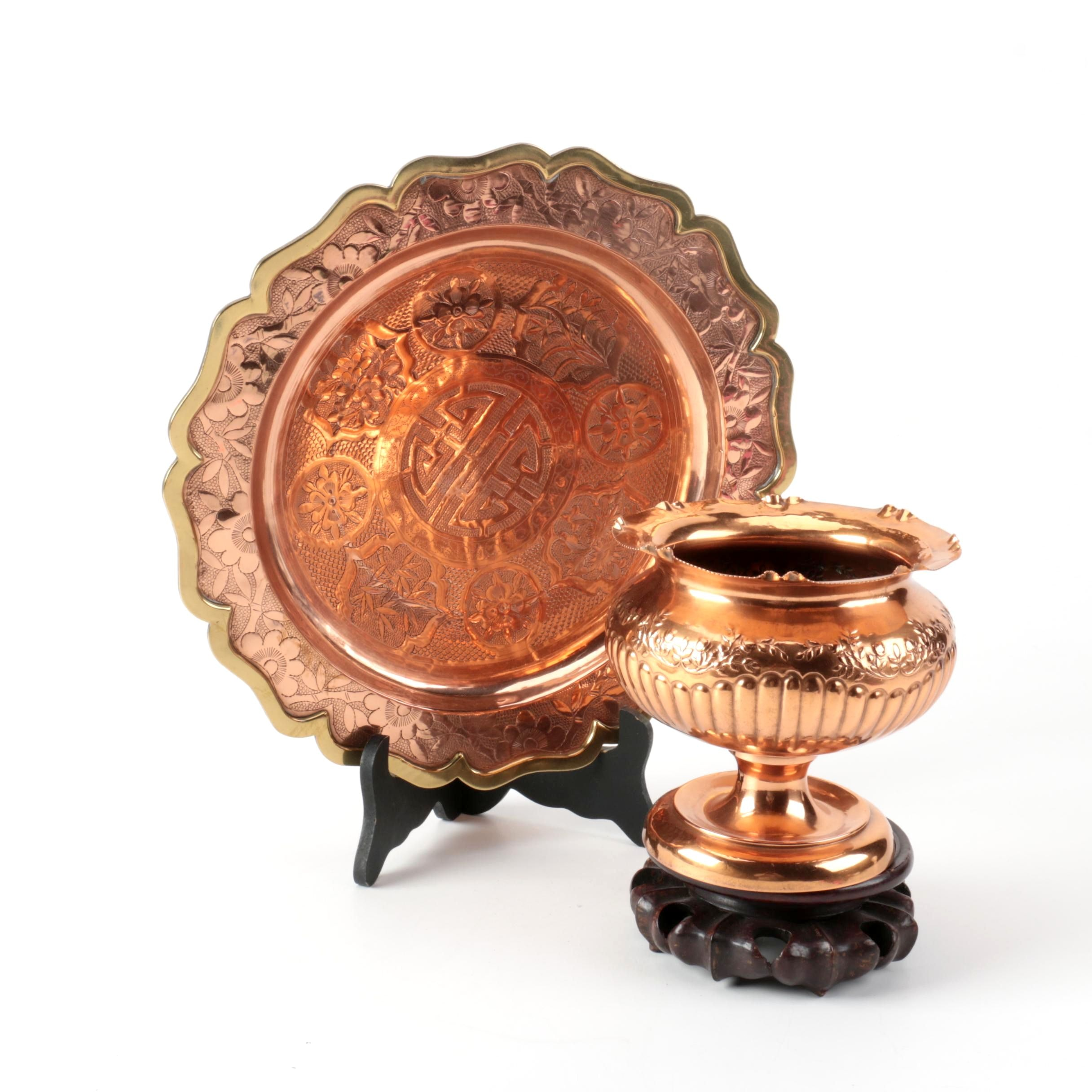 Chinese Inspired Decorative Copper and Brass Plate with a Footed Urn ...  sc 1 st  EBTH.com & Chinese Inspired Decorative Copper and Brass Plate with a Footed ...