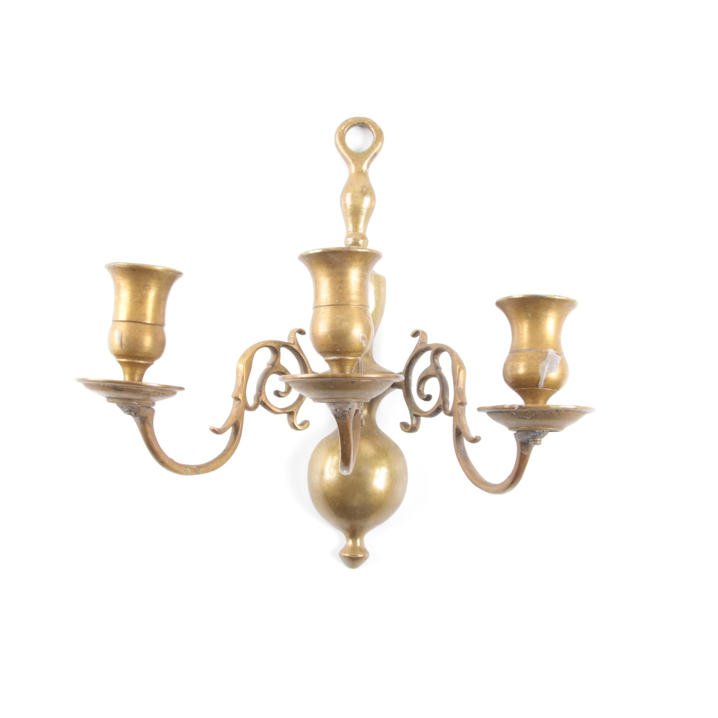 Three Light Brass Wall Sconce