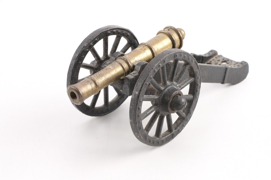 Vintage Penncraft Brass And Cast Iron Miniature Cannon Ebth
