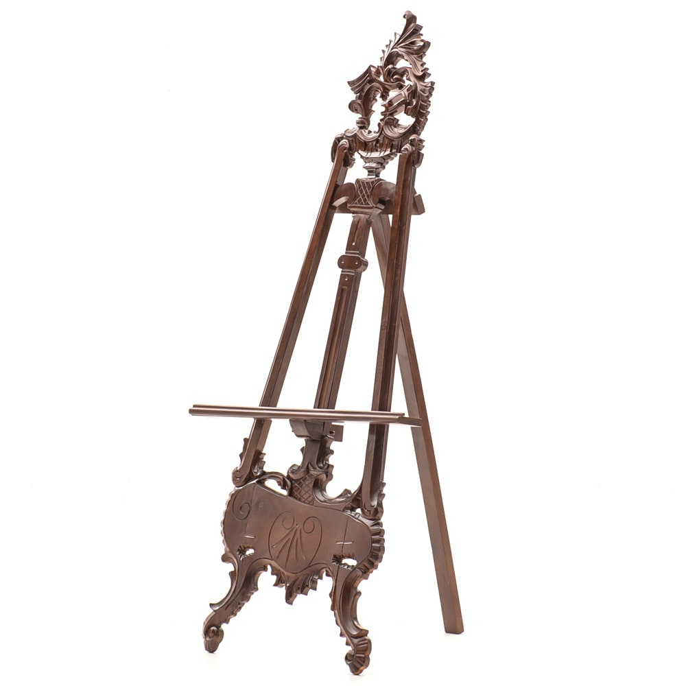 Late Victorian Rococo Style Carved Easel