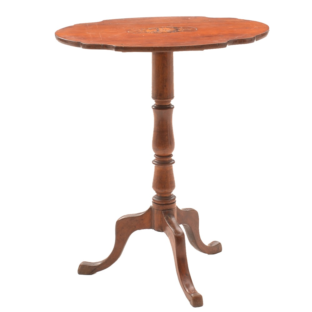 Antique Marquetry Tilt Top Table