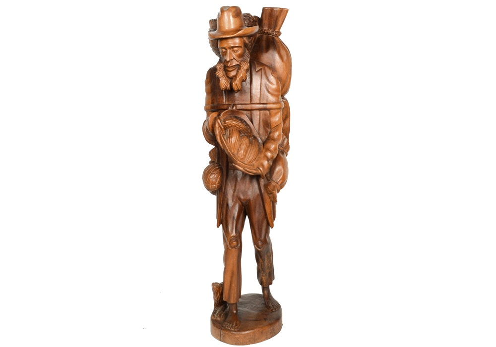Carved Wooden Bearded Figure With Baskets