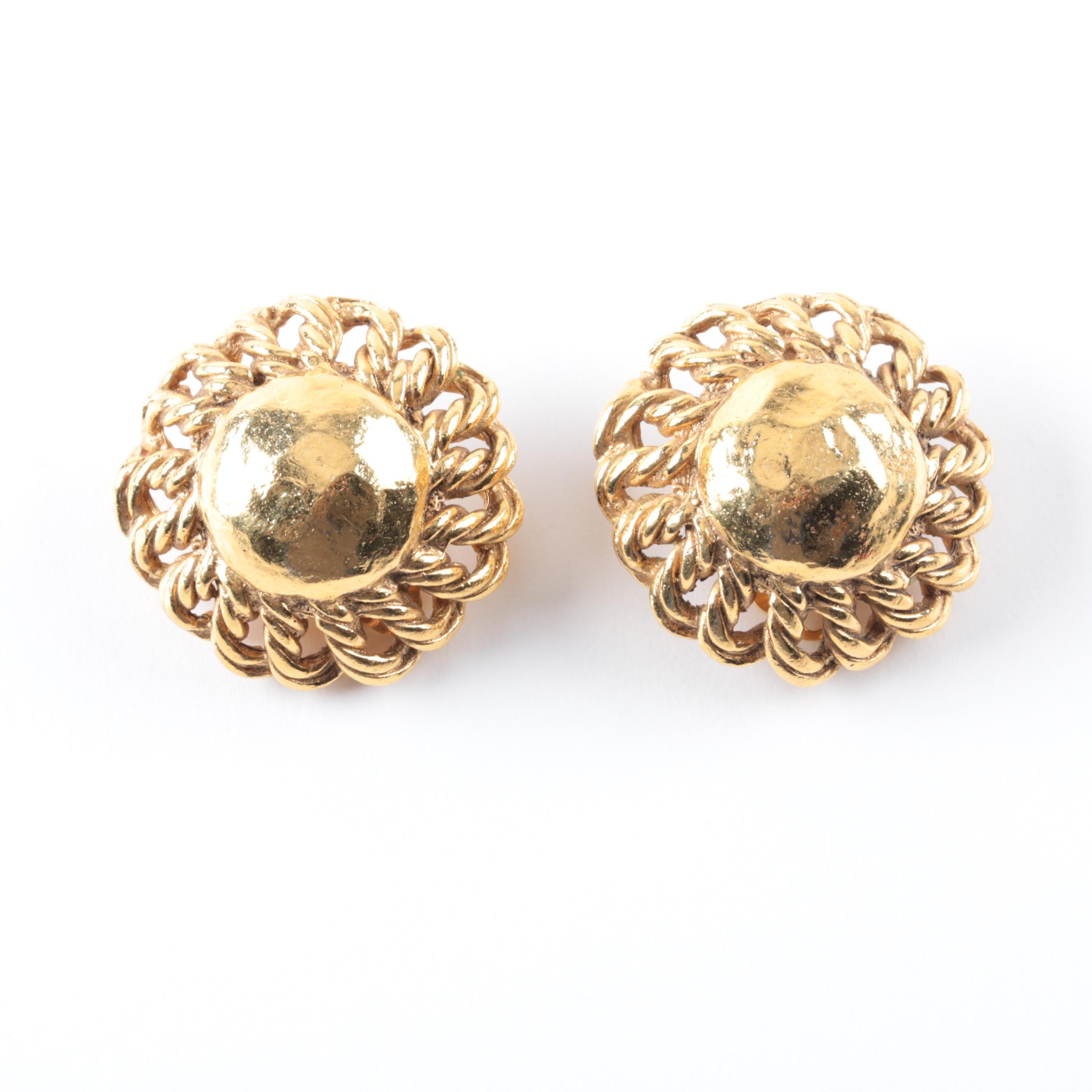 Vintage Gold-Toned Chanel Clip-On Earrings