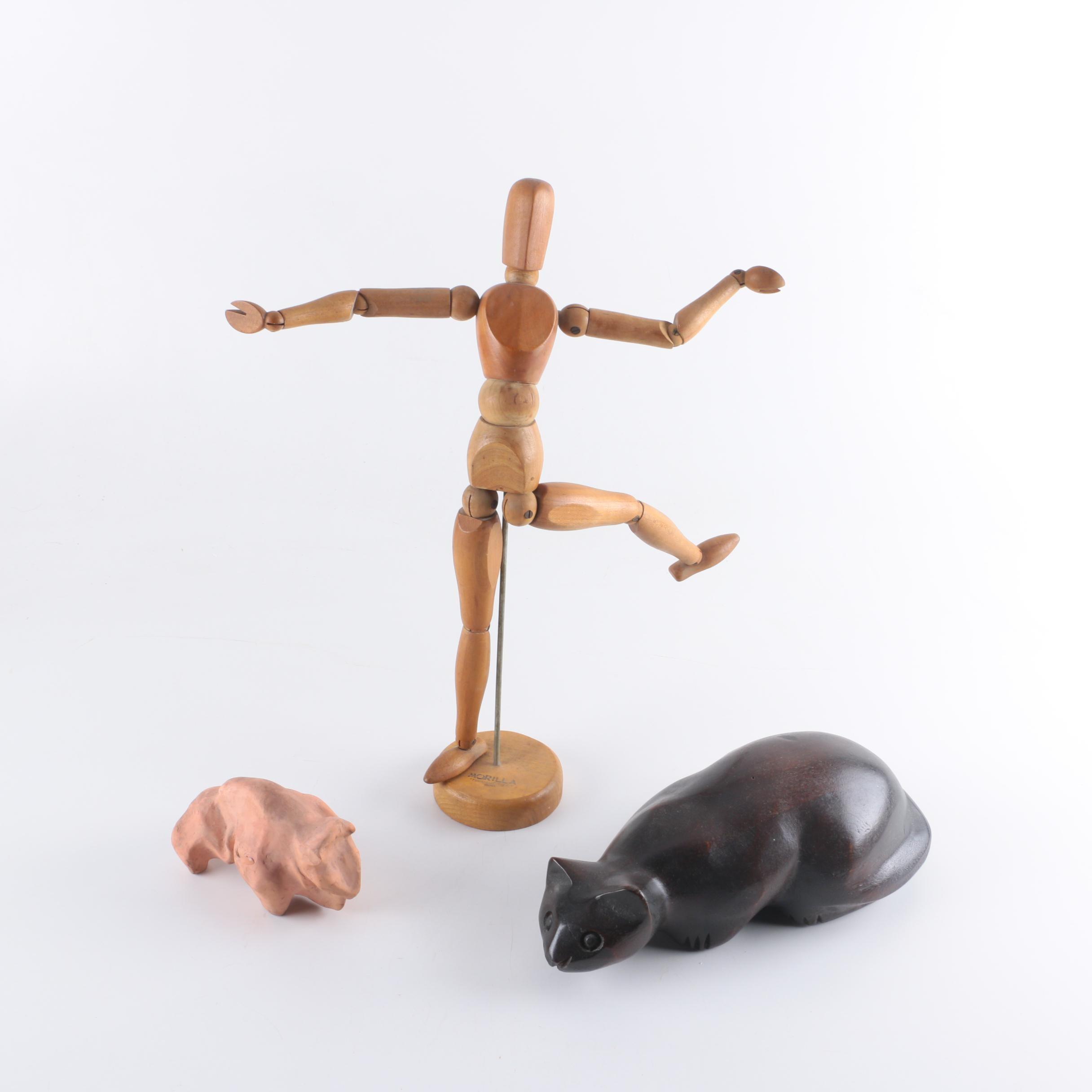 """Morilla Artist's Model """"Maniquette"""" with Animal Figurines"""