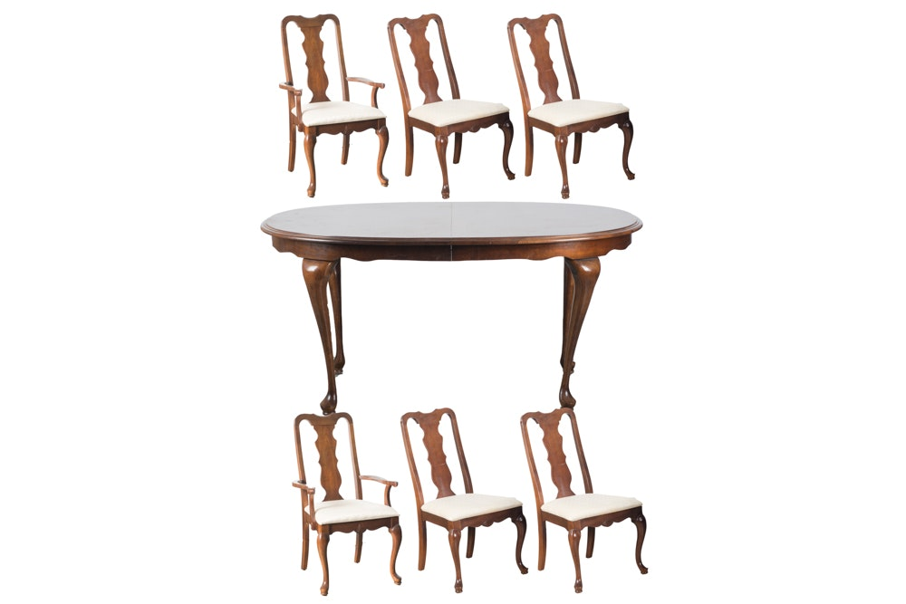 Queen Anne Style Walnut Table and Six Chairs