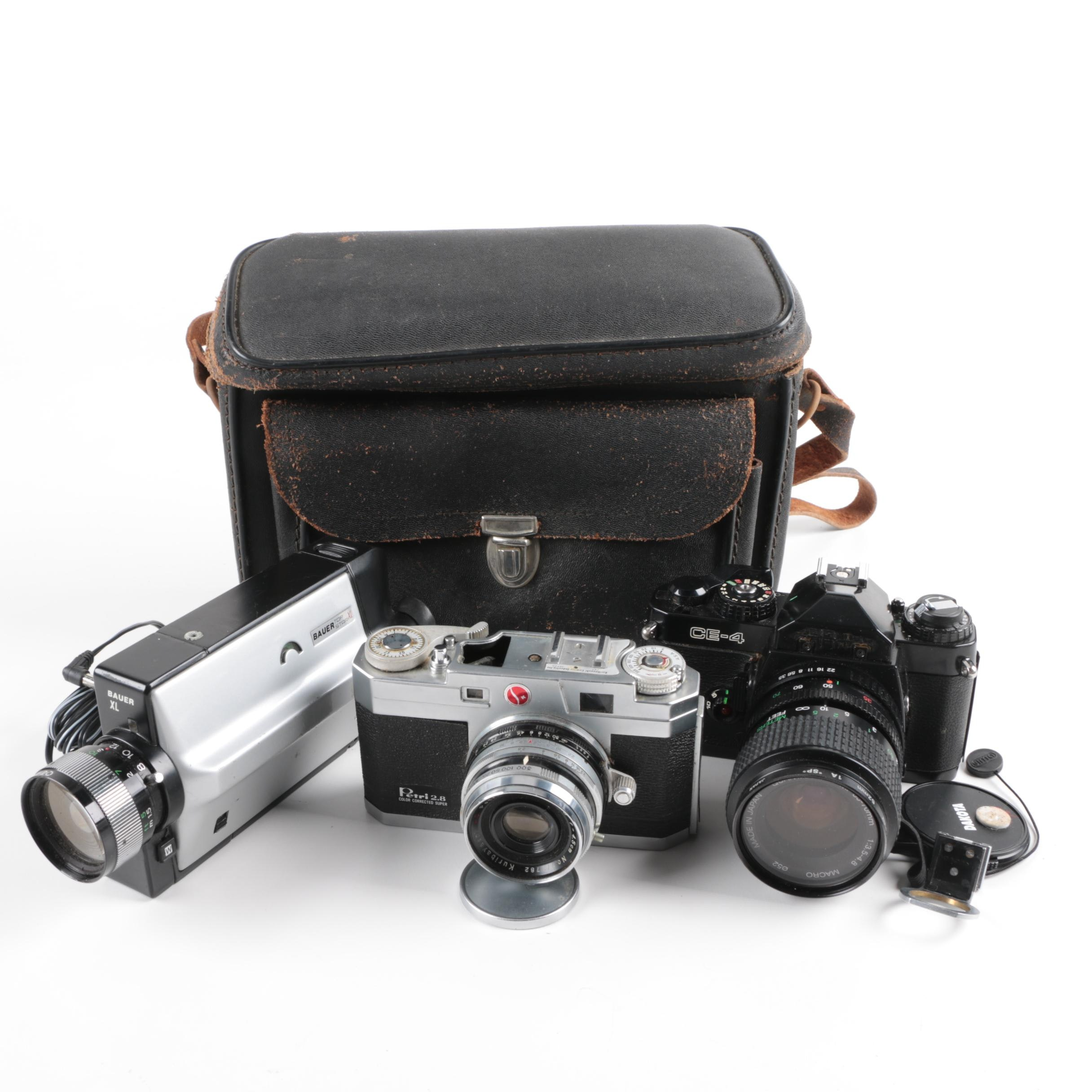 Vintage Still and Super 8 Cameras with Leather Case