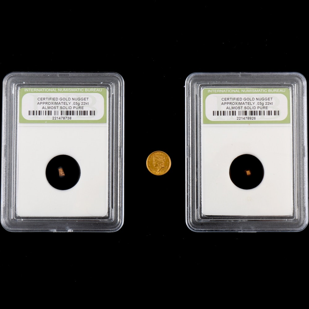 1853 Liberty Head Gold Dollar and Encapsulated Diminutive Gold Nuggets