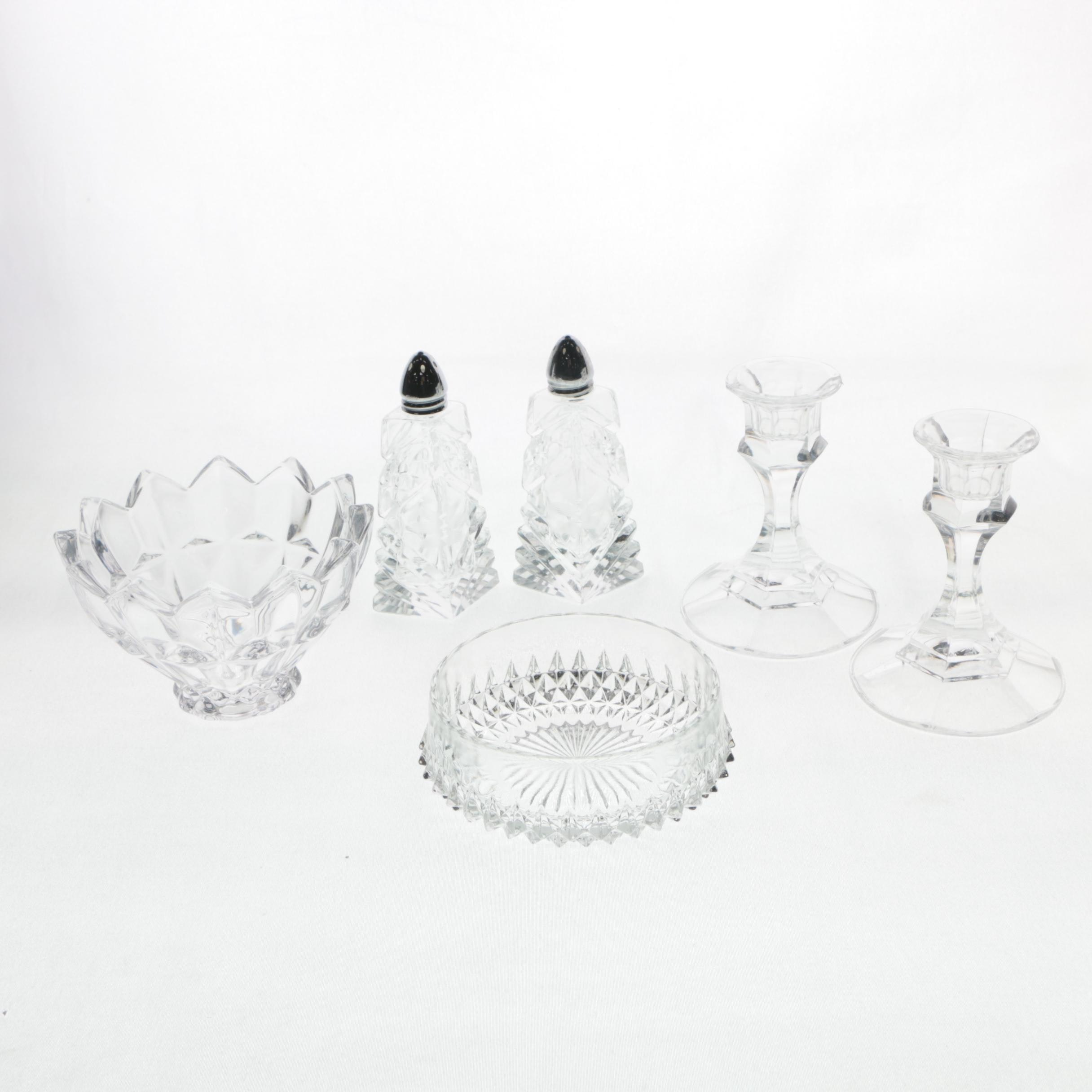 Crystal Candlesticks, Spice Shakers, and Bowls
