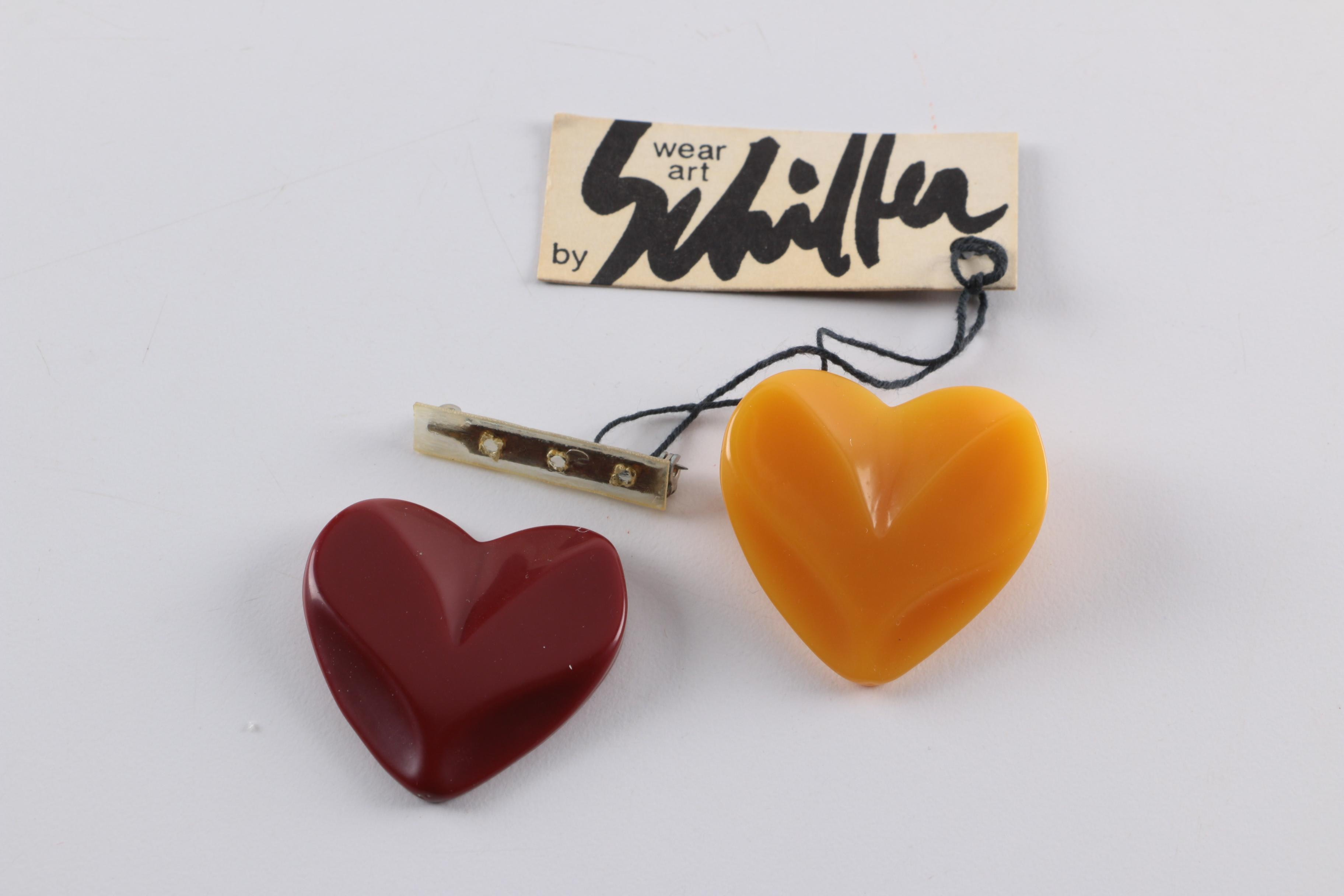 1970s Bill Schiffer Plastic Heart Pins