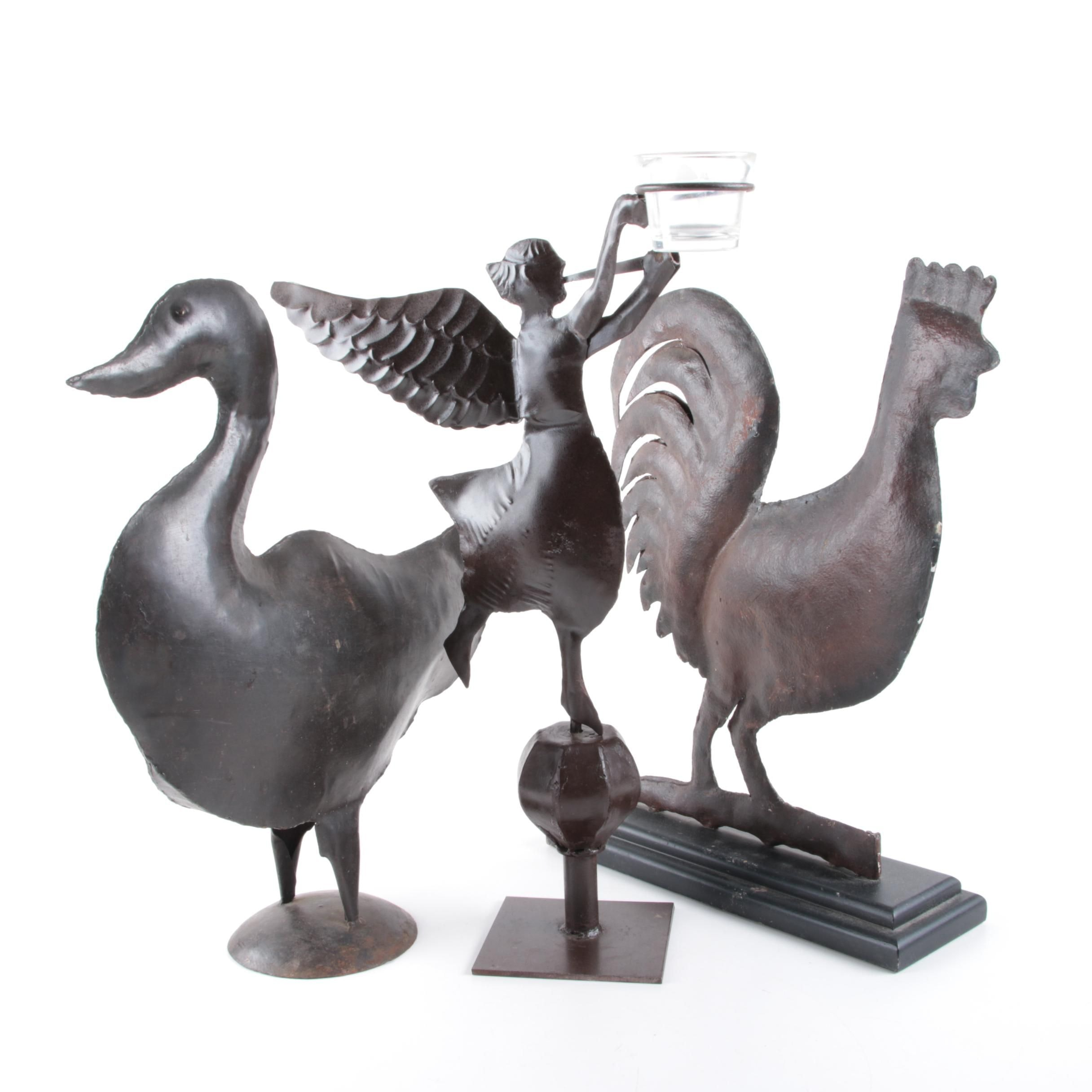 Metal Rooster Duck and Angel Statues