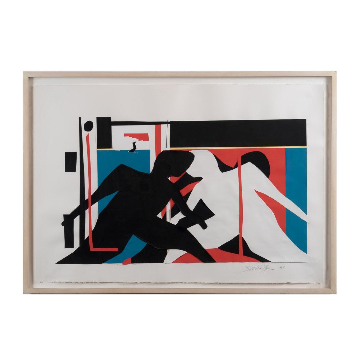 """Bill Schiffer 1984 Cut Paper Collage """"Midtown 11:45 AM"""""""