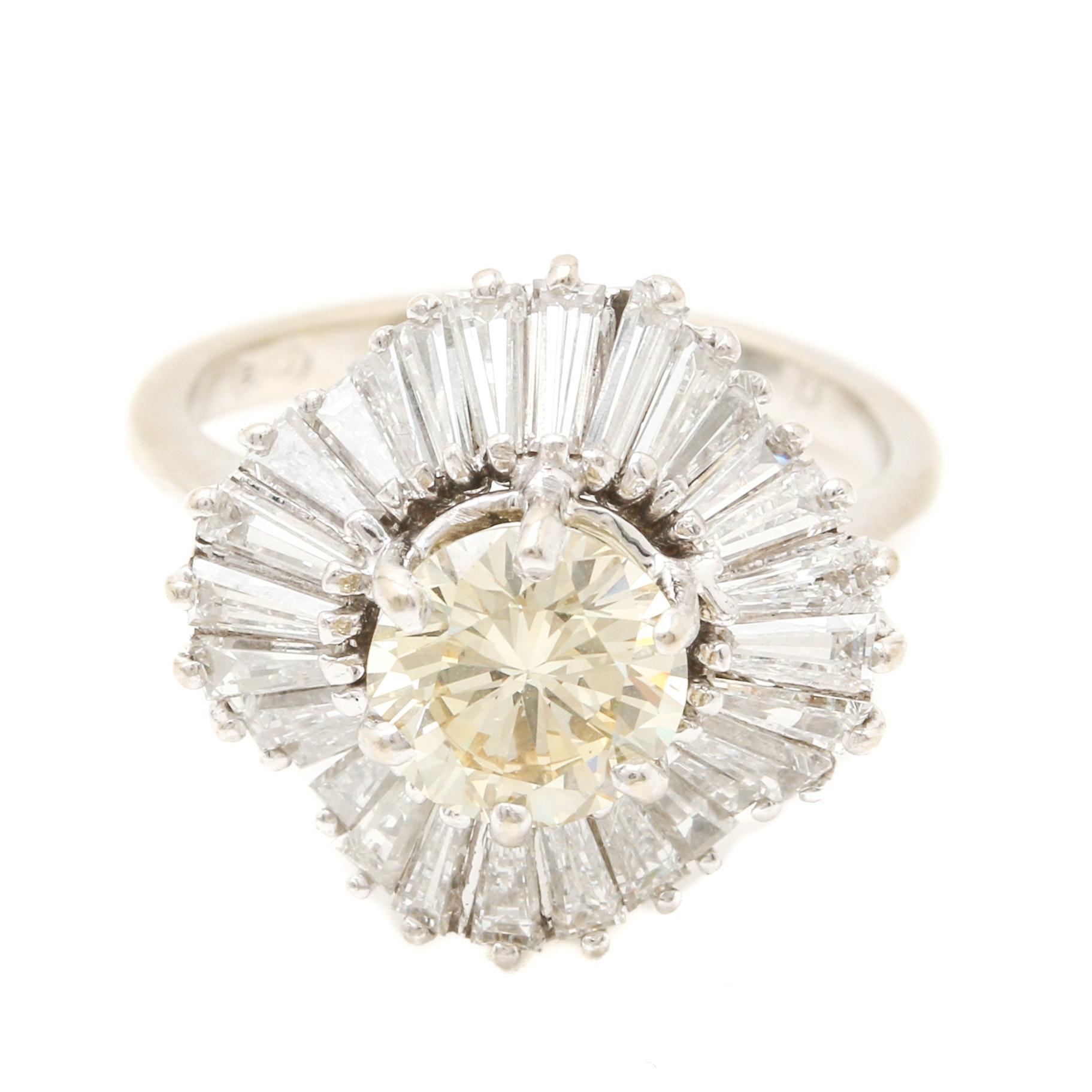 14K and 18K White Gold 3.47 CTW Diamond Ballerina Ring
