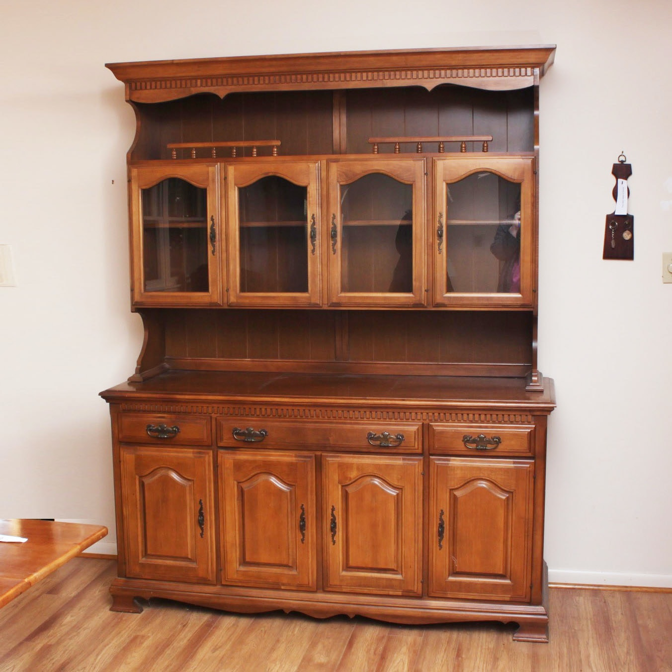 Early American Style Maple Hutch Cabinet and Buffet