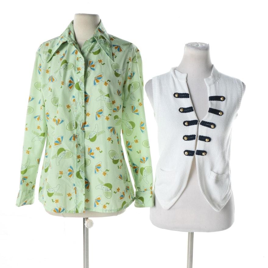 d5d9272079cfc Women s Franck Namani of Paris Knit Top and Vintage Devernois Blouse ...