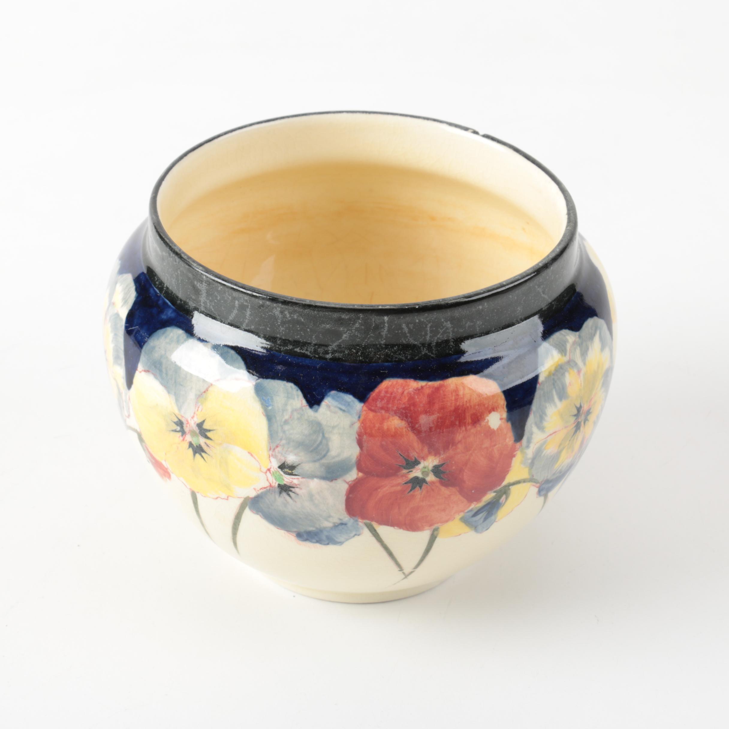 """Royal Doulton """"Pansy"""" Earthenware Cache Pot, Circa 1902-22"""