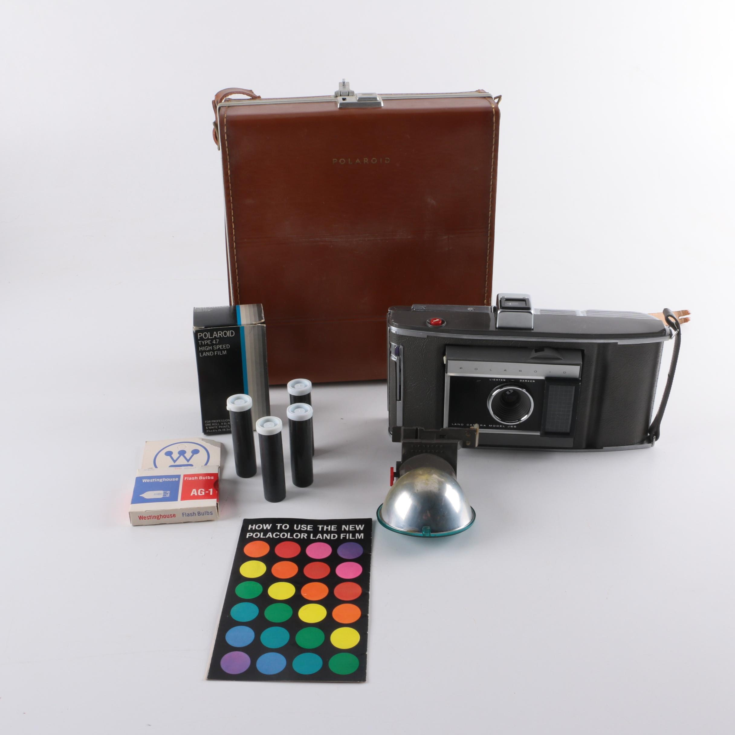 Polaroid Land Camera Model J66 with Case and Accessories