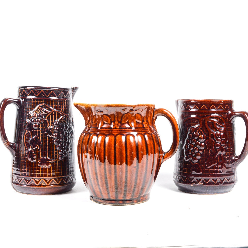 Collection of Vintage Brown Glazed Pitchers