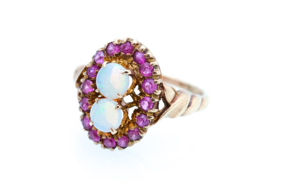 Antique 10K Yellow Gold Opal and Synthetic Ruby Ring