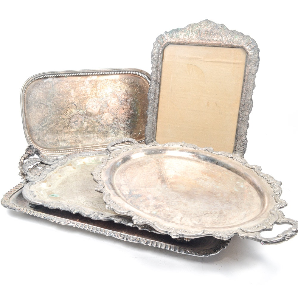 Decorative Silver Plate Trays and Frame