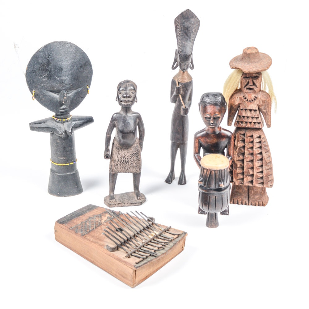 African Ashanti Doll, Kalimba (Thumb Piano) and Other Carvings