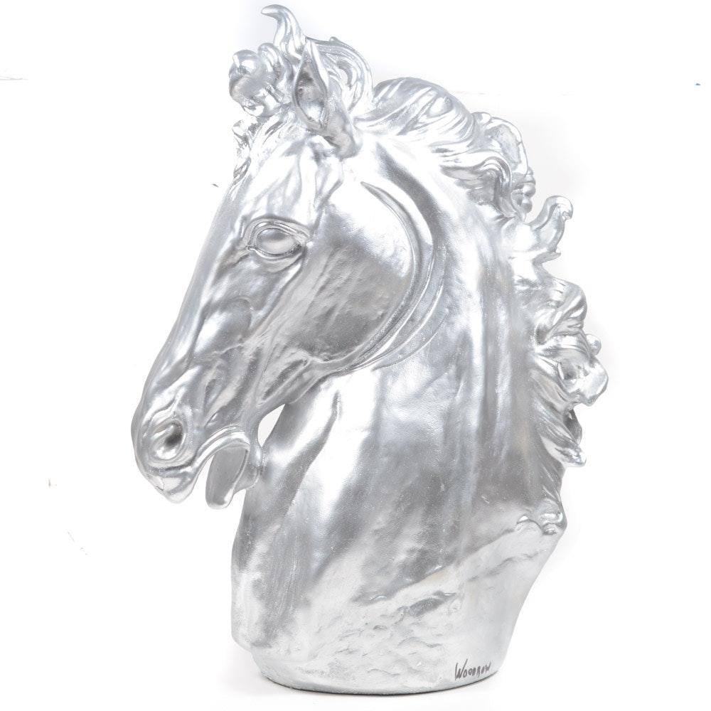 Metallic Plaster Horse's Head Sculpture