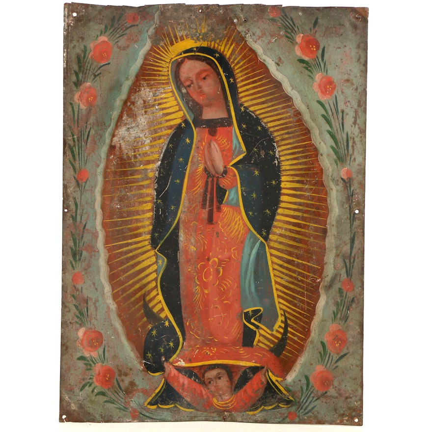 Mid Century Acrylic Retablo Painting On Sheet Metal Of Our Lady Of