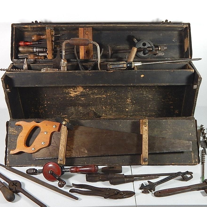 Antique Wood Carpenters Tool Box : EBTH