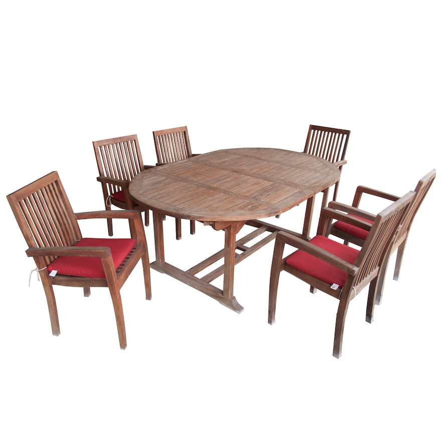 royal arrow teak wood patio table chairs with red accent pillows ebth