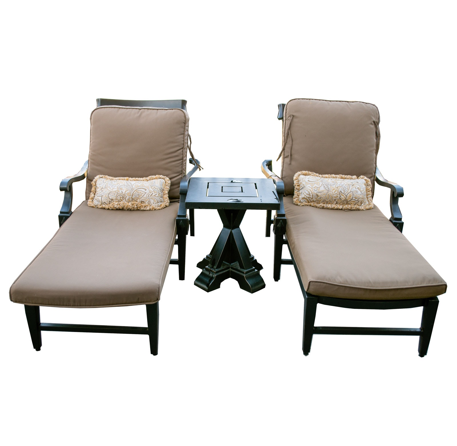 "Pair of Costco ""Broadway"" Lounge Patio Chairs and Side Table"