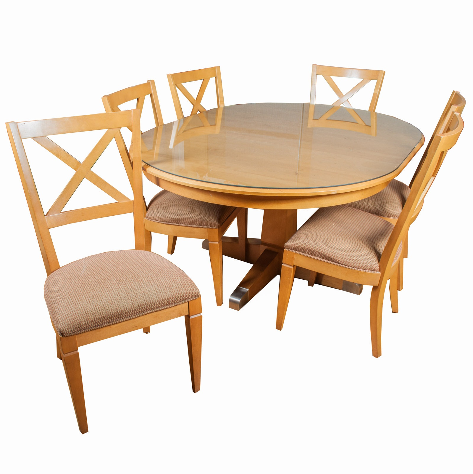 Ethan Allen Blonde Maple Table with Glass Top and Chairs
