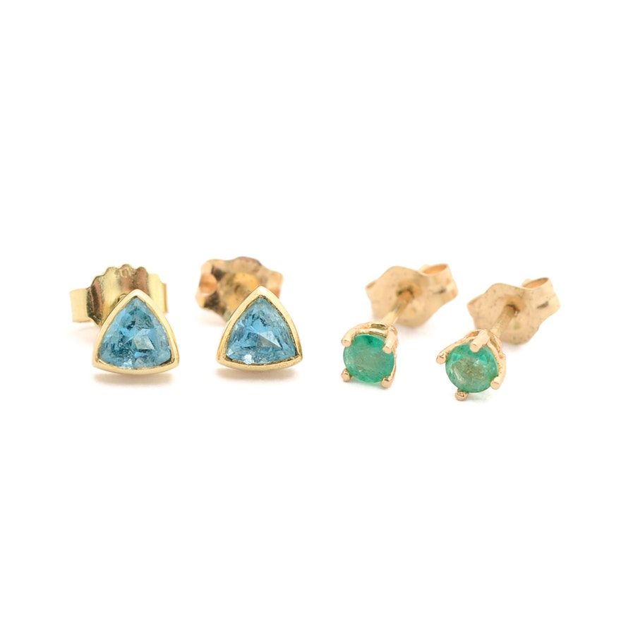 Two Pairs 14k Yellow Gold Blue Topaz And Emerald Stud Earrings