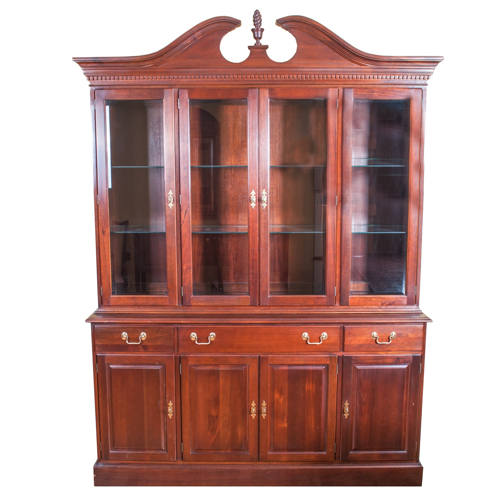 Chippendale Style Mahogany Illuminated Breakfront Cabinet by Wellington Hall