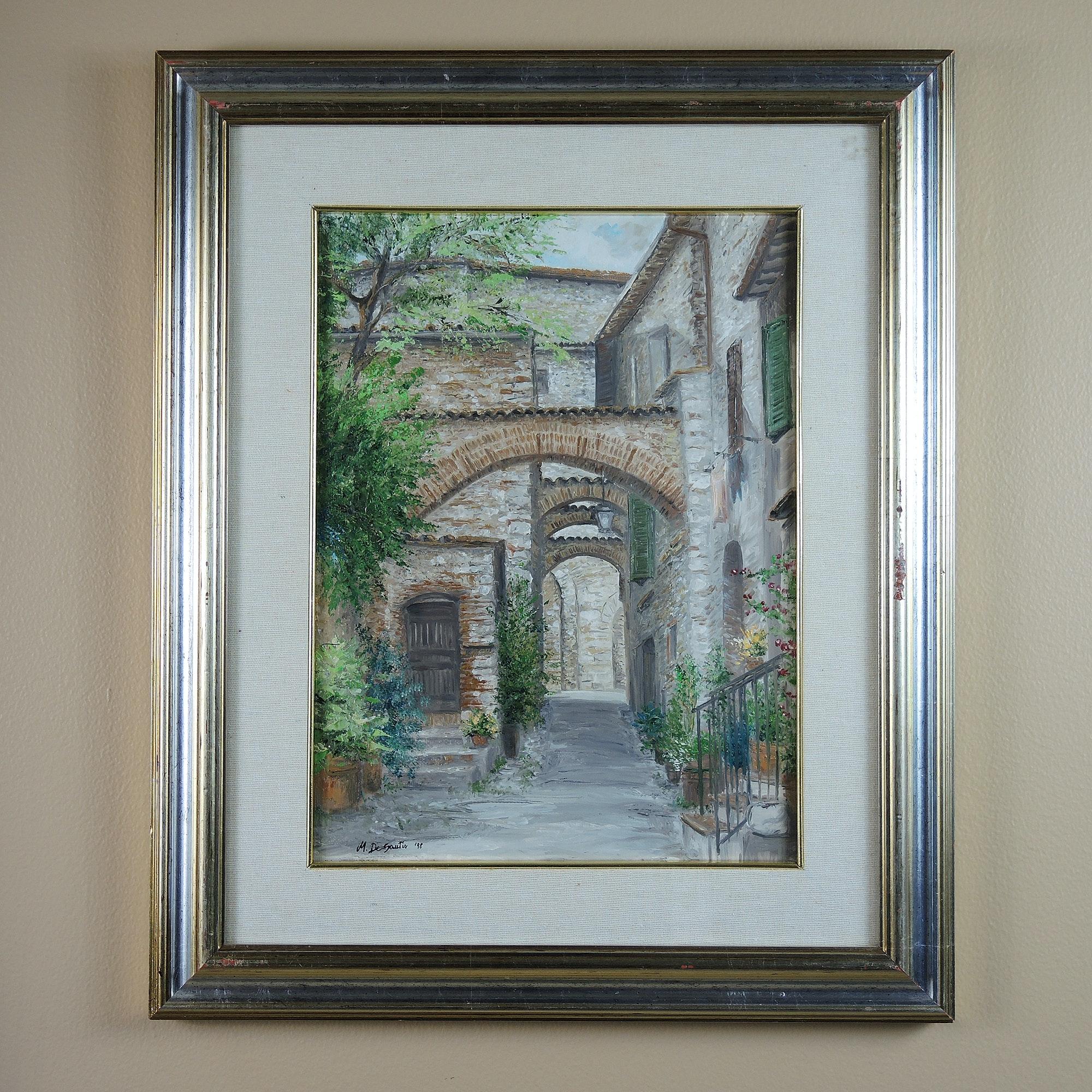 """Manuela De Santis 1998 Acrylic Painting """"Vicolo Del Gallo"""""""