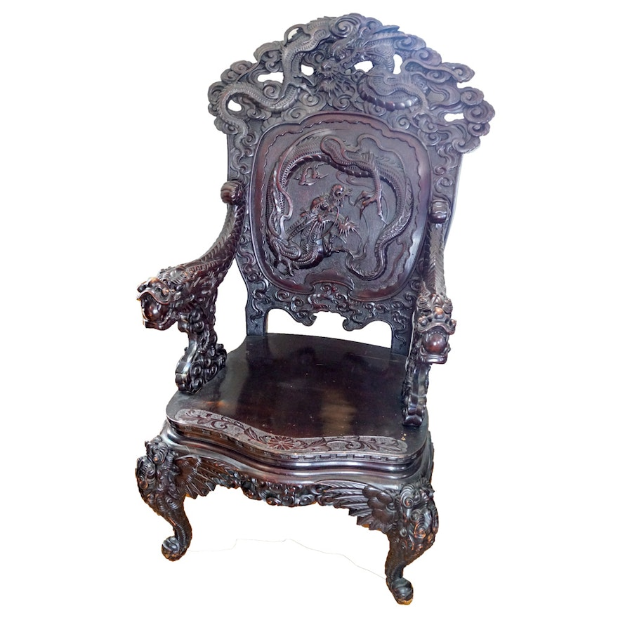 Antique Chinese Export Carved Dragon Chair ... - Antique Chinese Export Carved Dragon Chair : EBTH