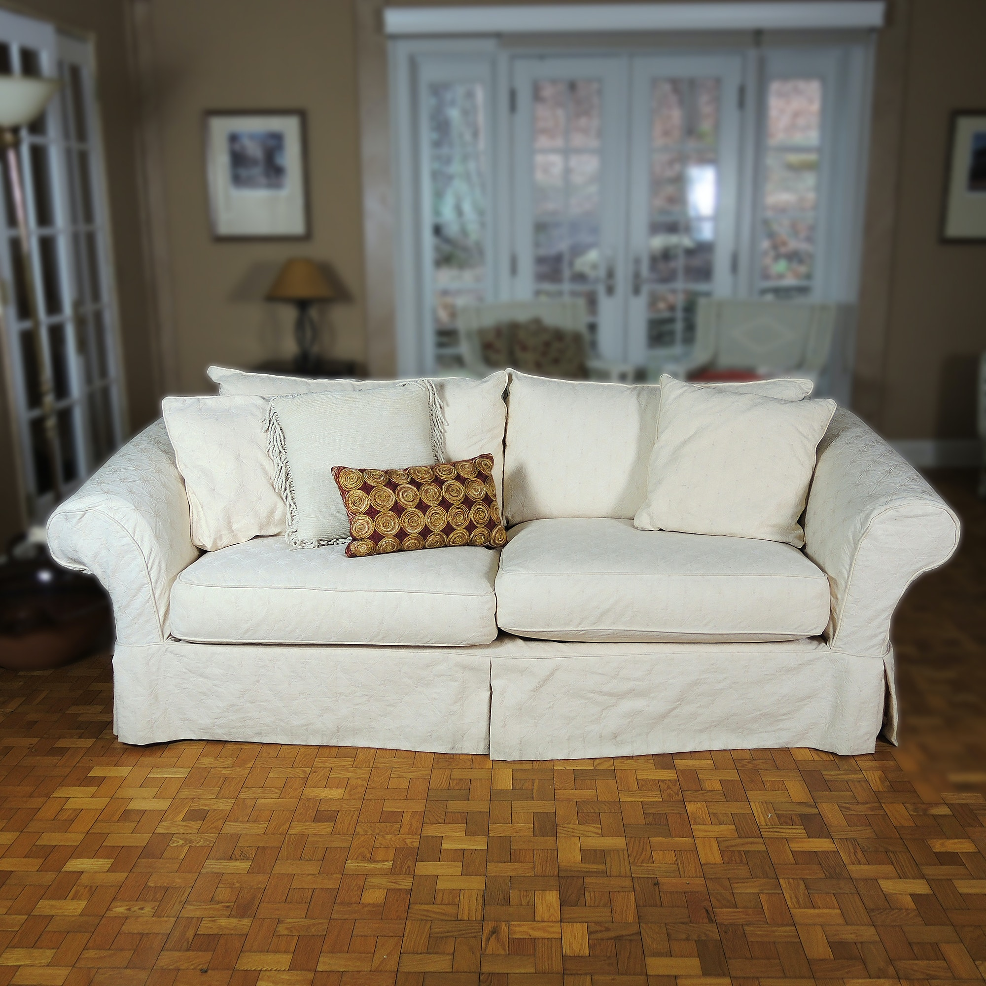 Sofa with Camden Collection Slipcover and Accent Pillows