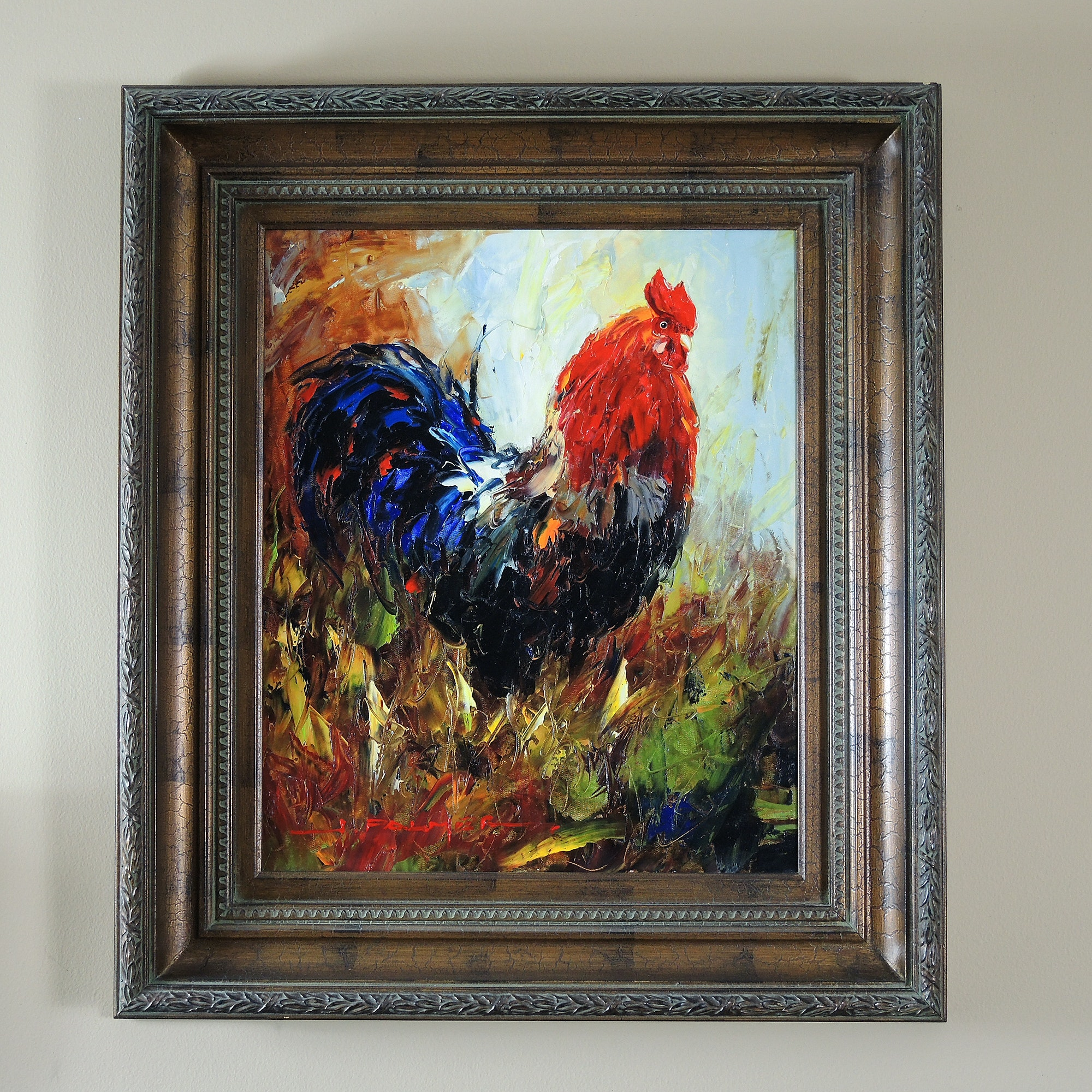 H. Palmer Acrylic on Canvas Rooster Painting
