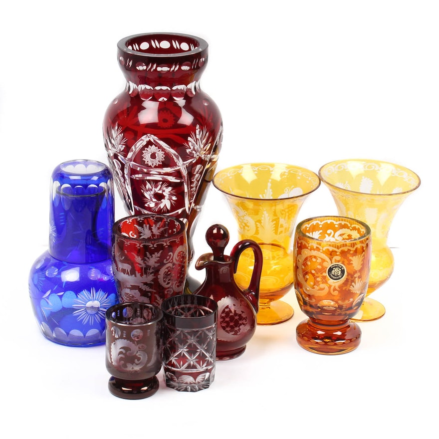 Vintage Cut To Clear Colored Glass Vases And Tableware Ebth