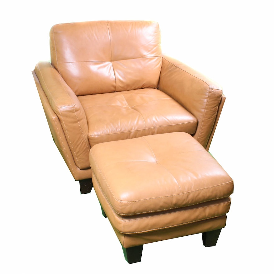 Italian Leather Lounge Chair With Ottoman By Soft Line S P A