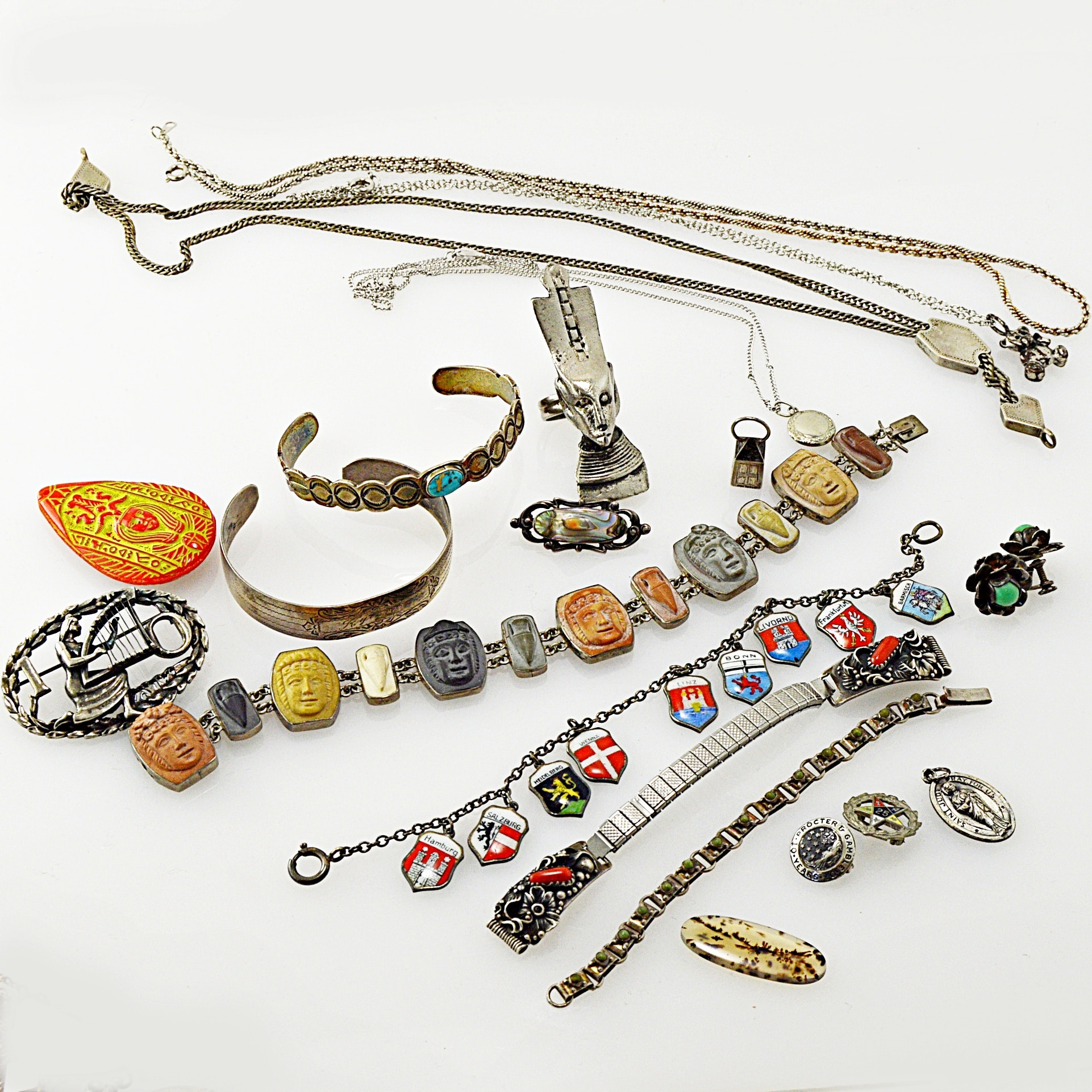 Vintage Sterling Silver, 10K Gold, 800 and Silver Tone Jewelry