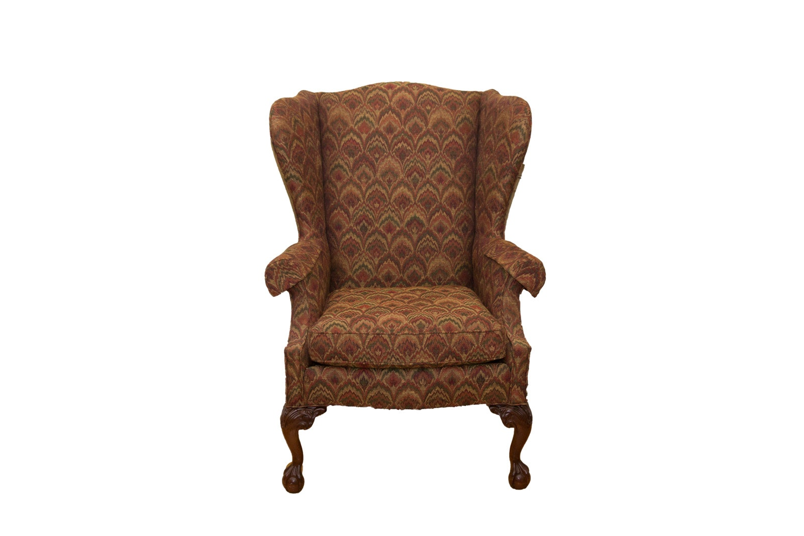Queen Anne Style Upholstered Armchair By Sherrill Furniture  Queen Anne Armchair H29