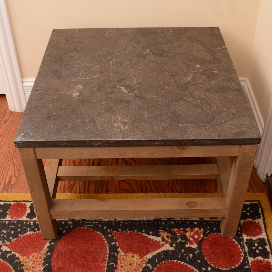 Pottery Barn Square End Or Coffee Table With Marble Top