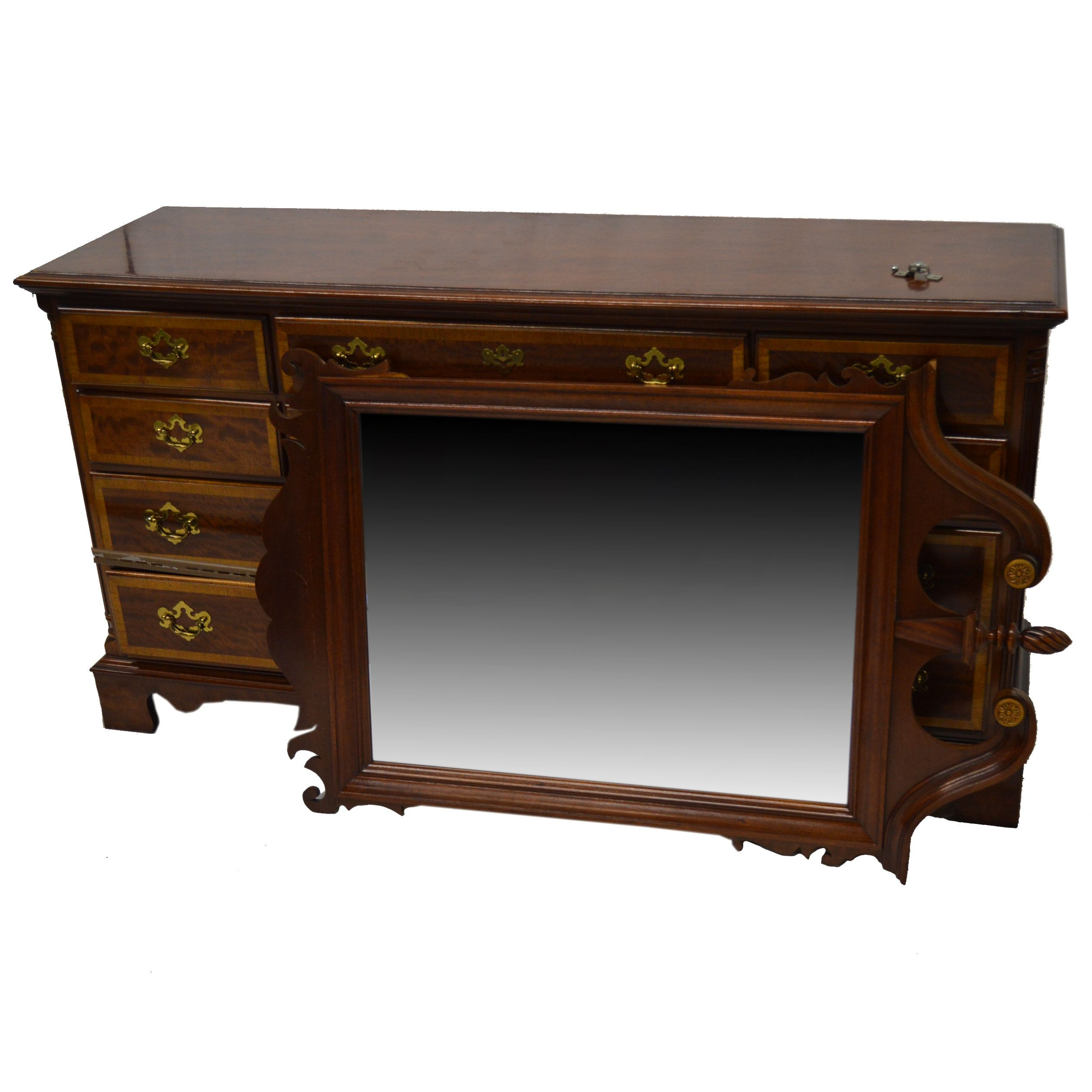 Georgian Style Mahogany Dresser with Mirror by Dixie Furniture